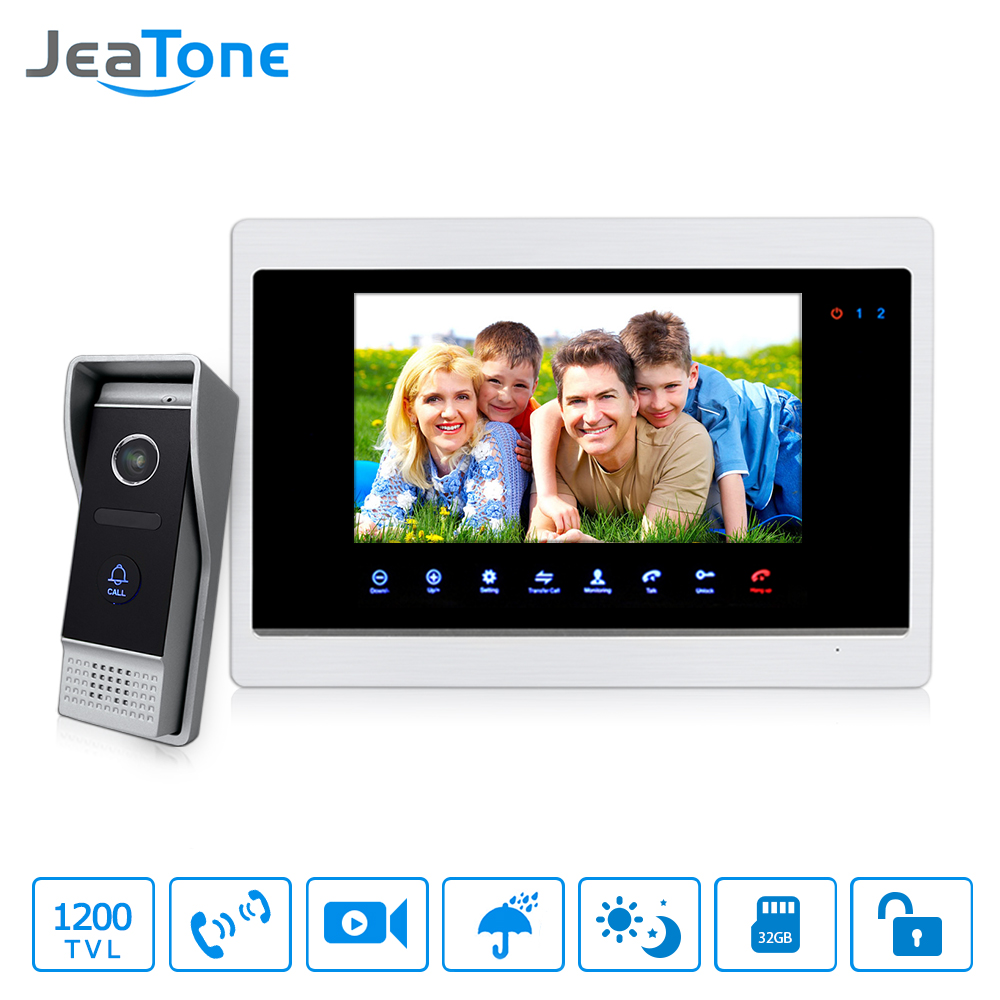 JeaTone 7Touch Panel Monitor Video DoorPhone Unlocking, Monitoring, Taking Pictures Intercom HD 1200TVL Doorbell Outdoor Panel 7 inch video doorbell tft lcd hd screen wired video doorphone for villa one monitor with one metal outdoor unit night vision