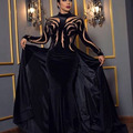 Fashion Black High Collar Beaded Stones Velvet Mermaid Evening Dresses with Overskirt