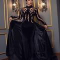 Fashion Black High Collar Beaded Stones Velvet Mermaid Evening Dresses with Overskirt