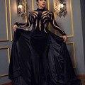 Moda Negro Cuello Alto Con Cuentas Piedras Velvet Sirena Vestidos de Noche con Sobrefalda