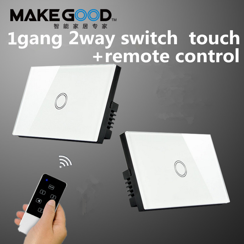 Makegood 1 Gang 2 way touch wall switch, RF433 remote control light switch for US standard crystal tempered glass panel switch smart home us au wall touch switch white crystal glass panel 1 gang 1 way power light wall touch switch used for led waterproof