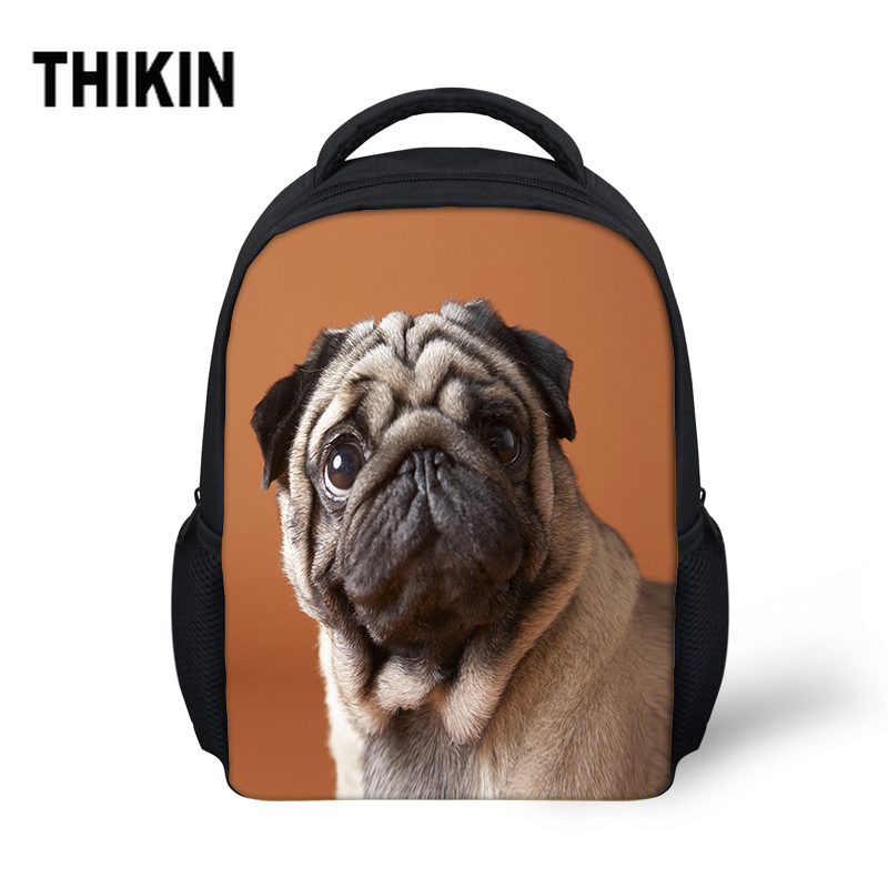 THIKIN 3D Bulldog Dog Girls School Bags Children Student Satchel Boys Travel Bags Kids Custom Rucksack Kindergarten Mochila(China)