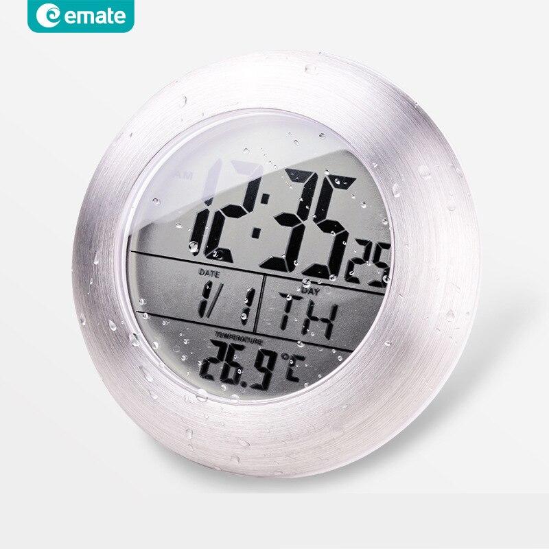Emate salle de bains étanche Temparture capteur électronique horloge numérique avec ventouse et support