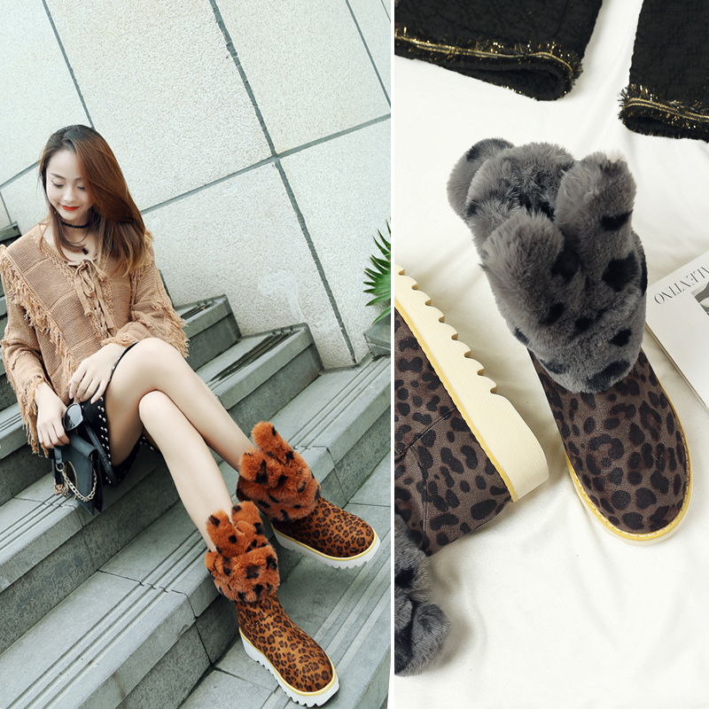 Fur Women Snow Boots Sweet Cute Style Rabbit Girls Shoes Winter Ankle Boots Warm Cartoon Shoes Suede Casual Shoe Leopard Fashion hee grand bling faux fur women snow boots sweet cute style ankle boots winter warm shoes women platform suede snow boots xwm279