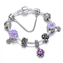 New Silver Enamel Flower Beads Charm Bracelet For Women Girl Imitation Pearl Brand Bracelet&Bangle Female Jewelry feelgood individuality vintage silver color jewellery exquisite enamel small flower and imitation pearl jewelry sets for women