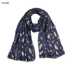 YILIAN Newest Print Fashion Tassels Long Scarves Women Classic Elegant Leaves Lady Hot stamping Feather DU35