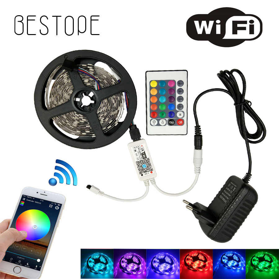 BESTOPE WIFI RGB LED Strip SMD 5050 Led Light Waterproof Tape DC 12V LED Strip Flexible Fita Neon Ribbon tape with Wifi control