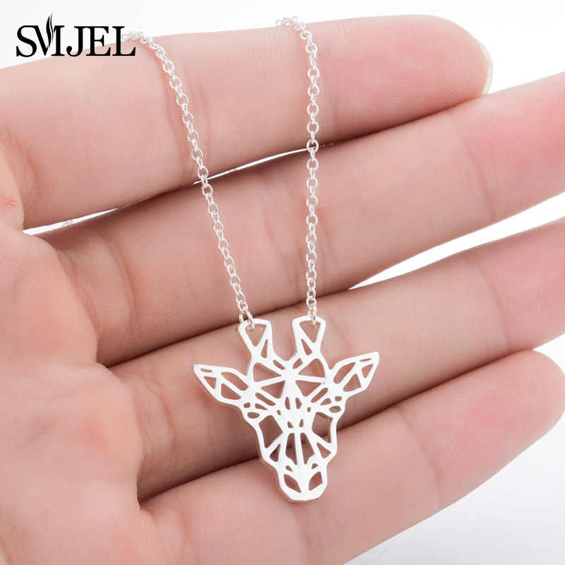 SMJEL Minimalist Geometric Animal Giraffe Necklace Chain Unique Origami Deer Pendant Necklaces Gifts for Daughter Accessories