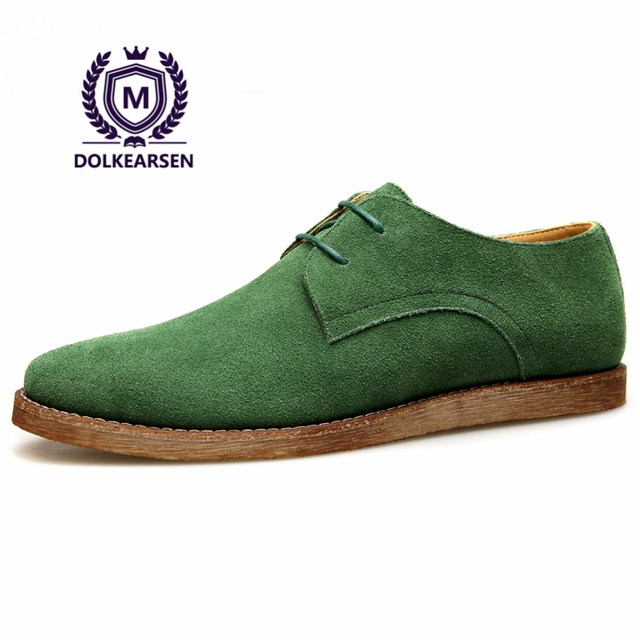 2017 Brand Spring Casual Men Oxfords Cow Suede Shoes Vintage Leisure Leather Luxury