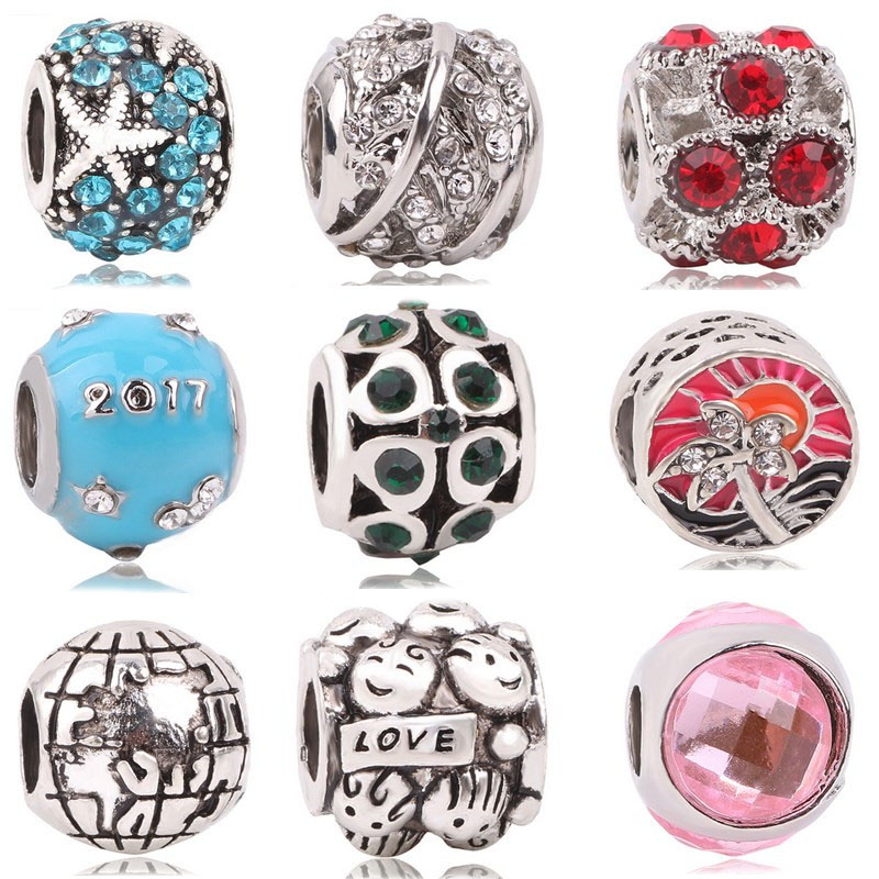 AIFEILI Silver Color Bead Charm European Silver Fit For Pandora Charms Bracelet