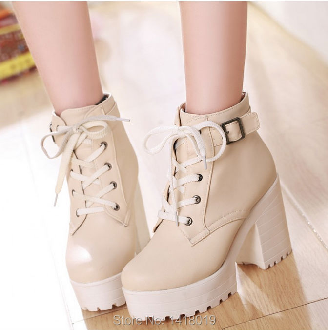 ff937571100930 NEW HOT Womens Punk Chunky Heel Platform lace Up Buckle Strap Ankle ...