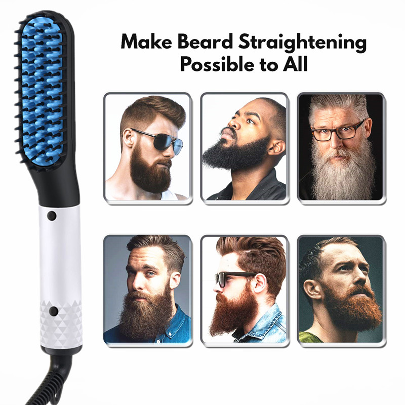 2 IN 1 Men's Hair Straightener Brush Beard Comb & Fast Heating Flat Iron Salon Electric Hot Comb Hair On The Temple Styler Tool