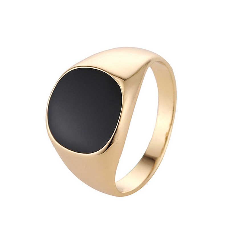 Размер 7-12 Винтажные Ювелирные украшения для мужчин кольцо из нержавеющей стали модный минималистичный дизайн позолоченный Черный Эмаль мужские кольца sa779