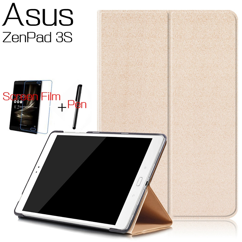 Top Quality Stand Smart PU Leather Cover for Asus ZenPad 3S 10 Z500M 9.7 inch Tablet Case With Free Screen Protector+Stylus Pen