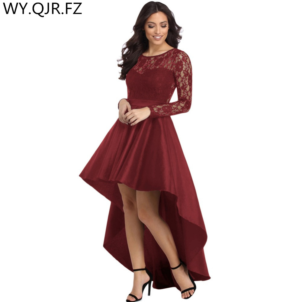 NASY61910#O-Neck Short front and back Bridesmaid Dresses wine red Violet wedding party dress prom gown wholesale women clothi