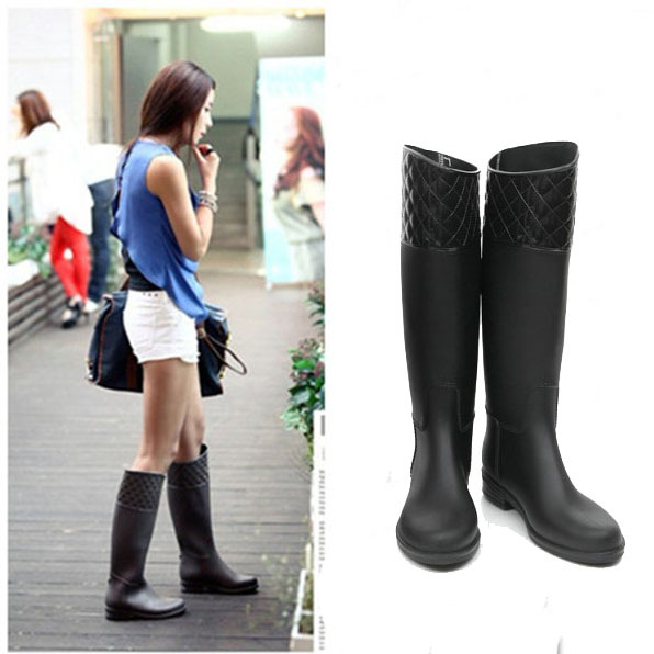 b6f5d91ac255 2013 Classic Black & Brown Women's Rain Boots Waterproof Wellies Boots  Rubber Boots Good Quality Free Shipping