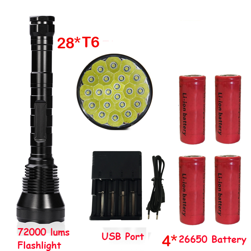 Newest Super Bright 72000 Lumen 5 Mode 28* T6 LED Flashlight Strong Torch Flash Light lamp torche with 4*26650 battery super bright 72000lm 5 mode 28 xml t6 led flashlight torch flash light lamp for outdoor hunting with 4 26650 battery