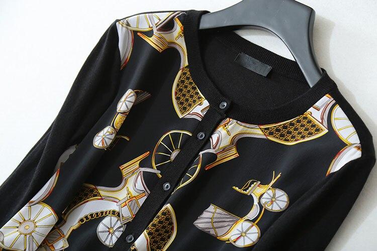 En M Haute Black Gros Cardigan Vintage Chemises De Soie l Imprimé Spliced Femmes Mélange Printemps Chandail Tricot Laine Noir Qualité Détail Mince ZZgqwH