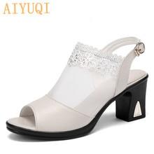 AIYUQI Women high heel sandals 2019 new women genuine leather Fashion mesh breathable open toe summer