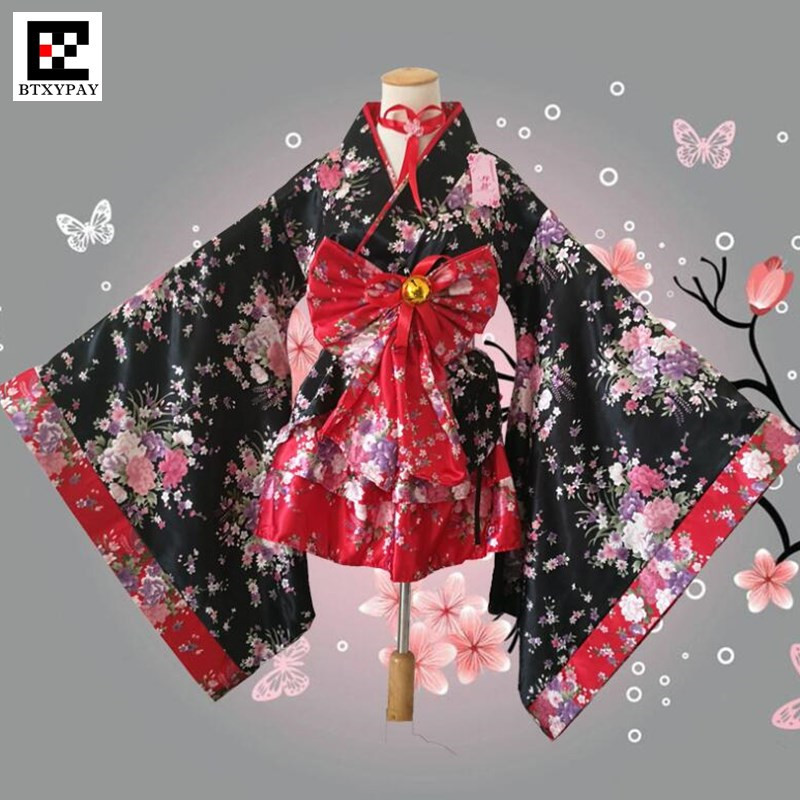 Women <font><b>Lolita</b></font> Kimono Sets,Imitation Silk Cherry Blossom Cosplay Anime Maid Cartoon Costume,Girl's Halloween <font><b>Lolita</b></font> Princess <font><b>Dress</b></font> image