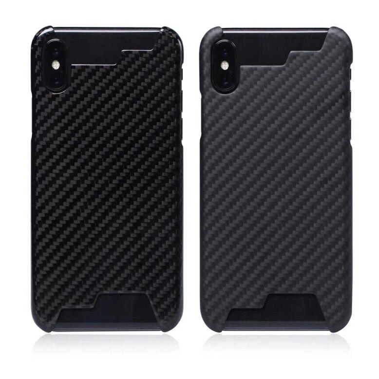 Mise à niveau Pas Affecter Le Signal 100% Réel de Fiber De Carbone Moitié bord Cas Ultra-léger Couverture Pour iPhoneX XR XS MAX 8 7 6 s Cas De Carbone
