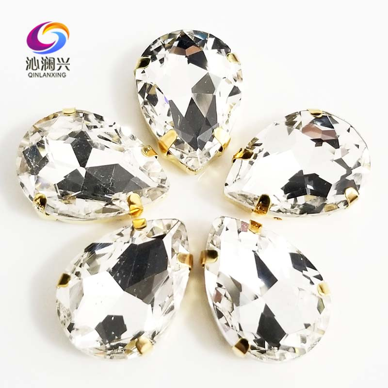 Free shipping Golden bottom white teardrop shape High quality AAA Glass Crystal sew on claw rhinestones,Diy Clothing accessories