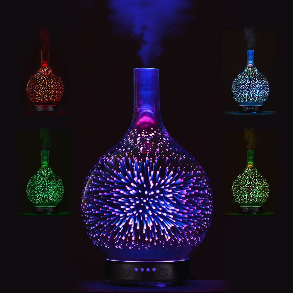7 Color Light 3D Glass Vase Aromatherapy Essential Oil Aroma Diffuser Changing and Waterless Auto Shut-off Cool Mist Humidifier