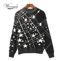 Retro Galaxy Star Pattern Sweater Women Vintage Long Sleeve Jumpers 2018 Autumn Winter Ladies Jacquard Sweaters Pullovers C 285