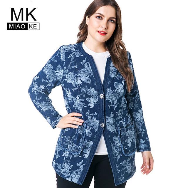 4e08fe7b516 Miaoke plus size vintage long sleeve denim jacket women clothing 2018  autumn new fashion print fall jean oversiz jacket coat -in Basic Jackets  from ...