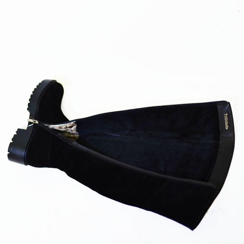 Fn77 Fille dessus Haute Black Botte Femme Pritivimin Main La Boot Cuir Laine Hiver En Genou Du Fourrure Véritable Dames Chaussures Chaud Femmes À qdwwCS