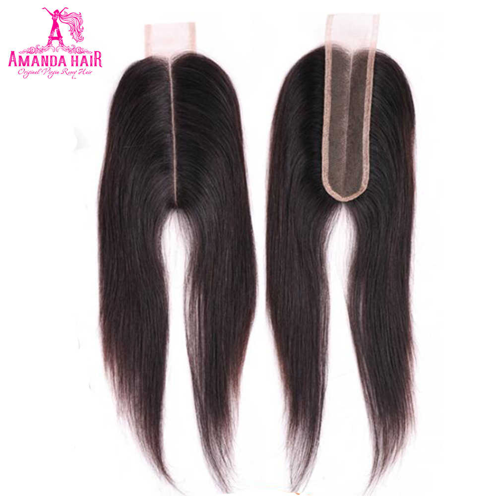 Amanda Brazilian Straight Hair Kim K Lace Closure Middle Part 2*6 inch with Baby Hair Remy Human Hair Swiss lace Closure 1 Piece