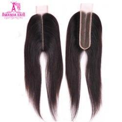 Аманда Ким K бразильский закрытие прямые волосы кружева 2*6 дюймов с волосами младенца 100% натуральные волосы швейцарский шнурок средняя