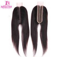 Amanda Kim K Brazilian Straight hair Lace Closure 2*6 inch with Baby Hair 100% Human Hair Swiss lace middle part remy 1 Piece