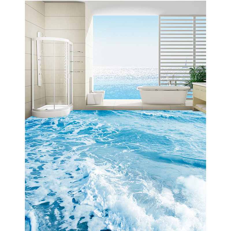 3d floor wallpaper custom hd photo wallpaper beach wave for floor bathroom self adhesive pvc. Black Bedroom Furniture Sets. Home Design Ideas