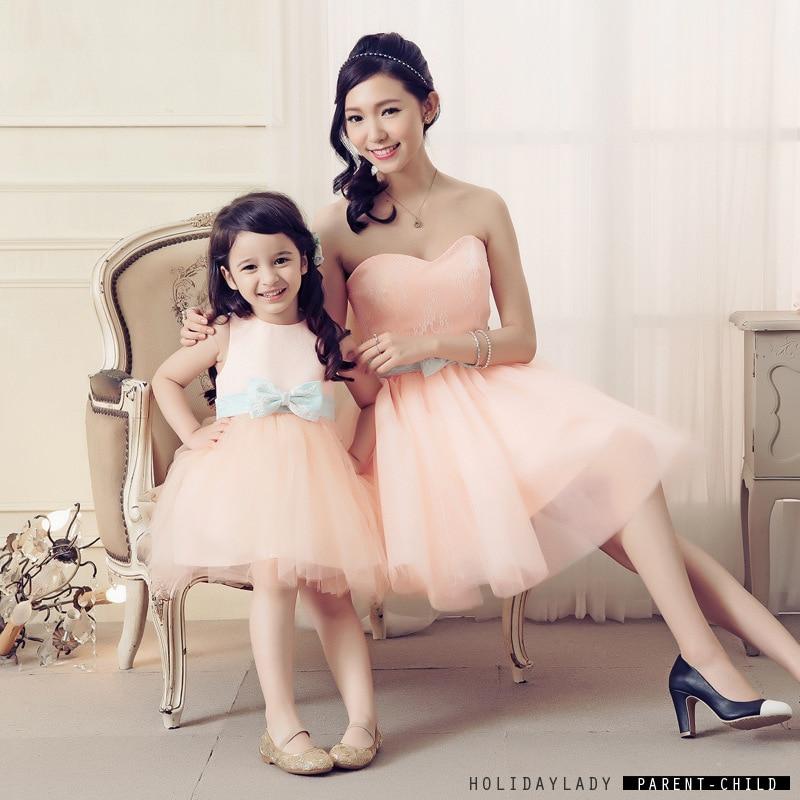 ФОТО 2016 Sweet princess girls dress bitter fleabane  dancing dress  parent-child outfit party birthday dress