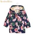 2017 Design Spring Autumn Kids Rose Flower Printed Jacket Girls Fleece Windbreaker Baby Girl Floral Coats Hooded Outerwear