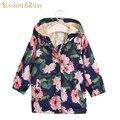 2017 Projeto Primavera Outono Crianças Flor Rosa Impresso Meninas Jaqueta Blusão de Lã Baby Girl Floral Casacos Casacos Com Capuz