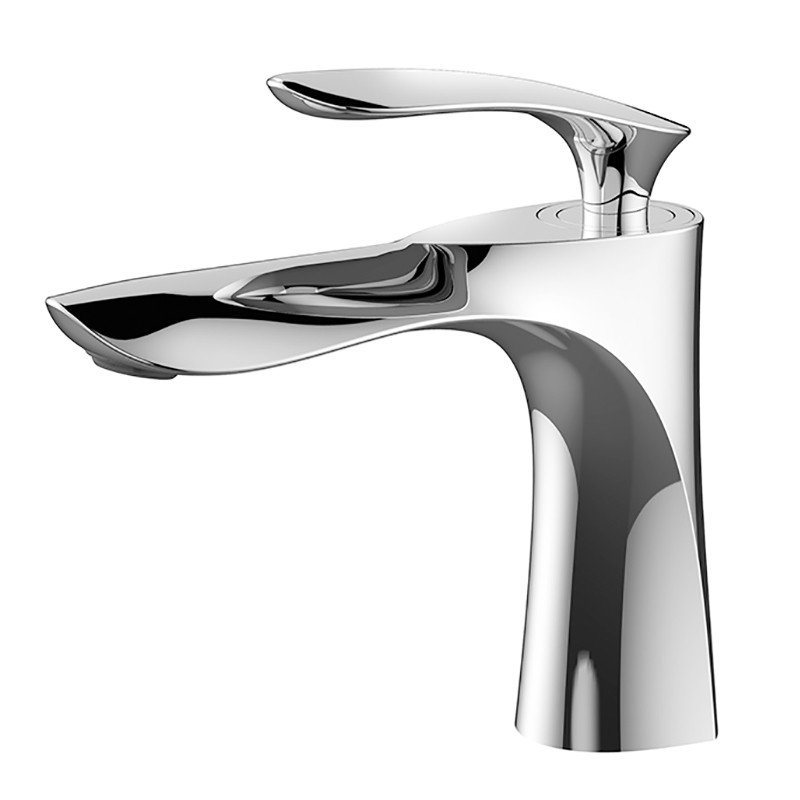 Basin Faucet Brass Bathroom Sink Mixer Tap Hot Cold Faucet Single Handle Deck Mounted Golden Chrome Lavatory Tap Water Crane in Basin Faucets from Home Improvement