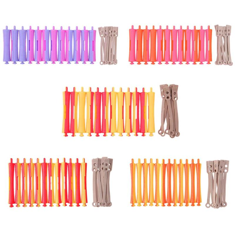 12Pcs/Set Hairdressing DIY Perm Rod Salon Hair Roller Rubber Band Hair Clip Curling Curler Hairdressing Maker Styling DIY Tool цена