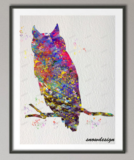 DIY Original Watercolor Owl Wall Art Canvas Painting Poster Print Pictures  Living Room Home Decoration Wall