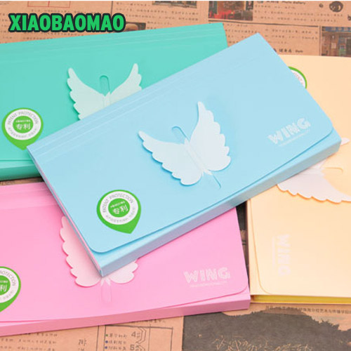 3D Butterfly Heart-shaped Plastic Candy Color Document Bag File Folder Expanding Wallet Bill Folder Small 23.5X13.3cm School