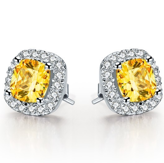 1ct Piece Yellow Cushion Cut Synthetic Diamonds Stud Earrings Silver Engagement Earring For Women 585