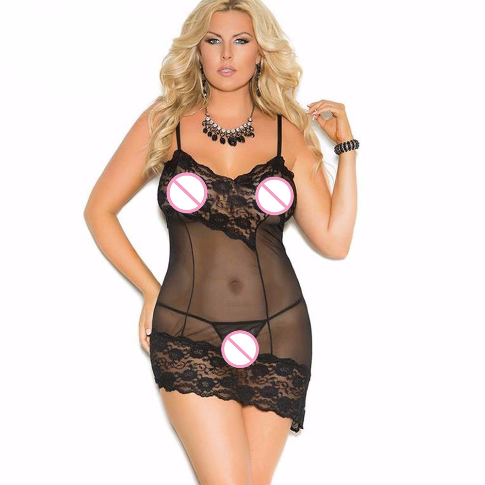 New Plus Size Sexy Lace Lingerie Babydolls Spaghetti Strap See Through Sheer Slip Erotic Underwear Sleepwear Nightwear for Women