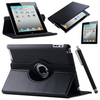 For IPad 2 IPad 3 IPad 4 PU Smart Stand Case Cover 360 Rotating With Screen