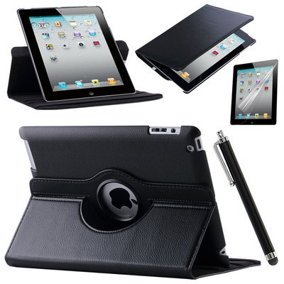 For Case Apple iPad 2 iPad 3 iPad 4 PU Leather Smart Stand Flip Case Cover 360 Rotating Screen Protector Film Stylus Pen Gifts luxury ultra slim magnetic smart flip stand pu leather cover case for apple ipad 6 air 2 retina display wake stylus pen