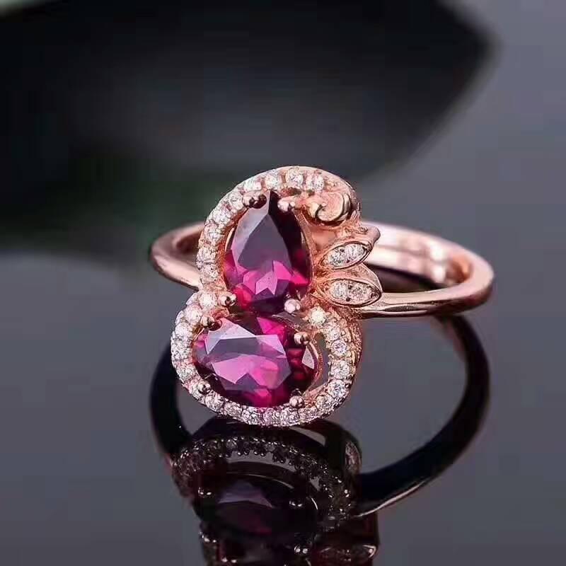 Naturel rouge grenat gemme anneau naturel pierre gemme anneau 925 en argent sterling à la mode chanceux gourde femme fille cadeau bijoux fins