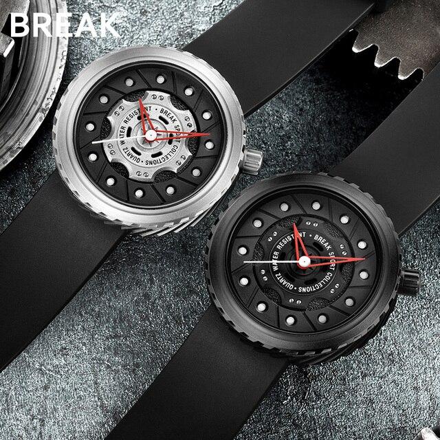 BREAK Men Quartz Sport Watches Man Casual Fashion Rubber Leather Strap Top Luxury Brand Waterproof Geek Unique Gift Wristwatch 3