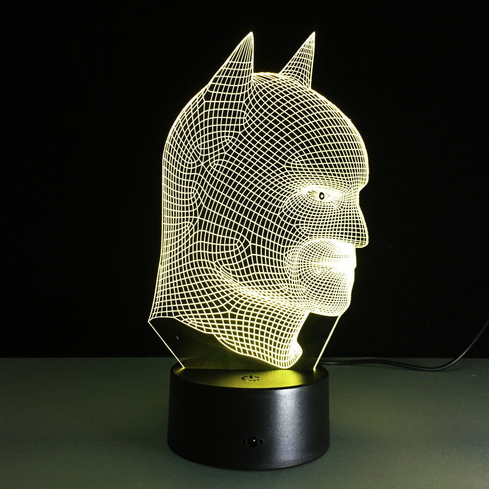 Batman superhero Novelty lamp 7 color changing visual illusion LED light Batman toy action figure birthday gift super cool