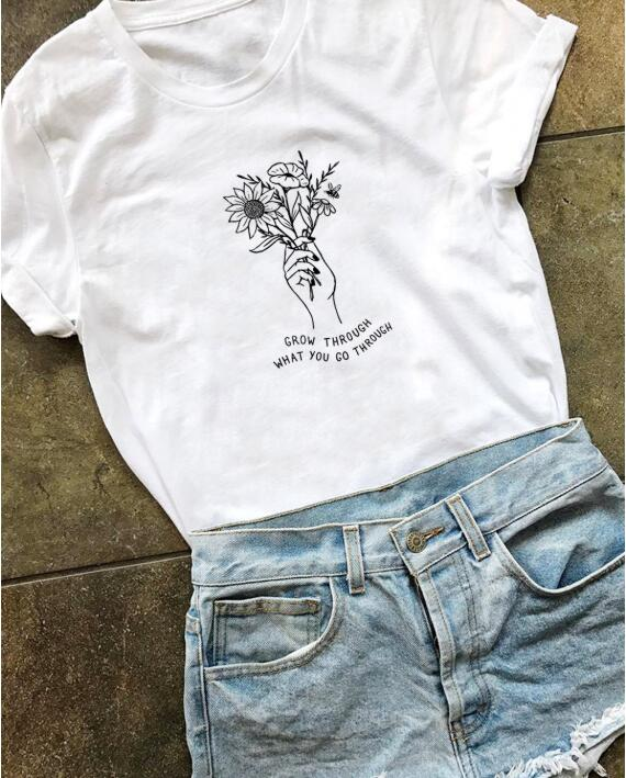 Grow Through What You Go Through T Shirt Save Bees Tees Flower Tee Women Funny Graphic Tops T-shirt