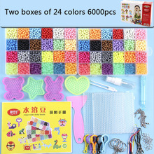 2019 New 24 Colors qua Water Fuse Beads Kit Magic Water Sticky Perler Beados Pegboard Set Puzzle Education Toys Kids Good Gifts